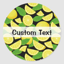 Lemon Background Classic Round Sticker