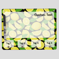 Lemon Background Dry Erase Board With Keychain Holder