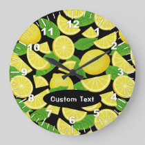 Lemon Background Large Clock