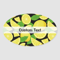 Lemon Background Oval Sticker