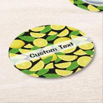 Lemon Background Round Paper Coaster