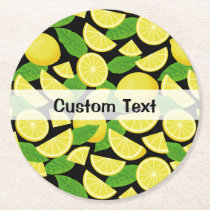 Lemon Background Round Paper Coaster