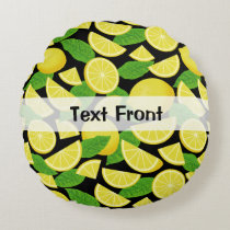 Lemon Background Round Pillow