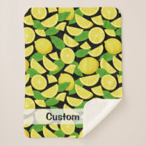 Lemon Background Sherpa Blanket