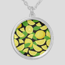 Lemon Background Silver Plated Necklace