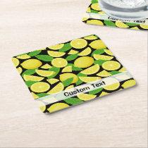 Lemon Background Square Paper Coaster