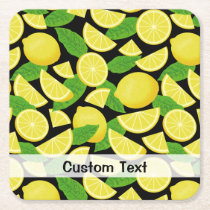 Lemon Background Square Paper Coaster