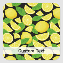 Lemon Background Square Sticker