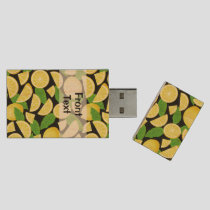 Lemon Background Wood Flash Drive