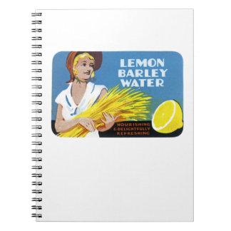 Lemon Barley Water Label Notebook