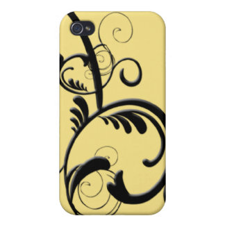 Lemon & Black Monogram Filigree iPhone 4 Cases