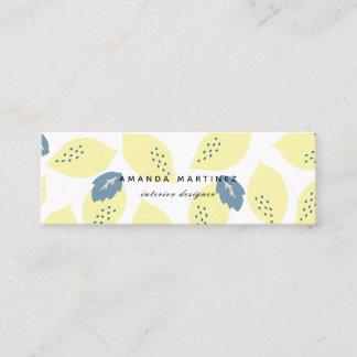 Lemon & Blue Gray Leaf Pattern Mini Business Card