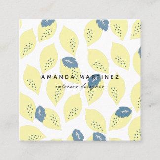 Lemon Blue Gray Leaf Pattern Square Business Card