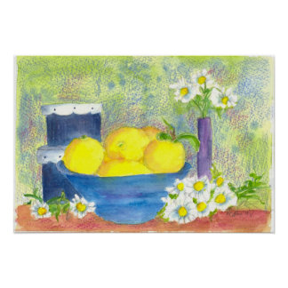 Lemon Bowl Daisy Vintage Hatbox Watercolor Print