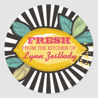 Lemon branch groovy rays chef catering bakery classic round sticker