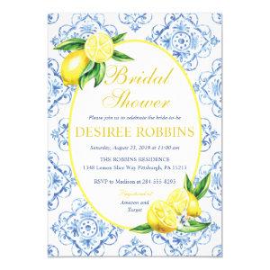 Lemon Bridal Shower Invitation, Blue Tile Italian Invitation
