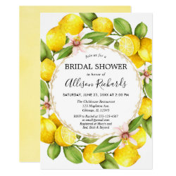 Lemon bridal shower, lemons greenery watercolor invitation