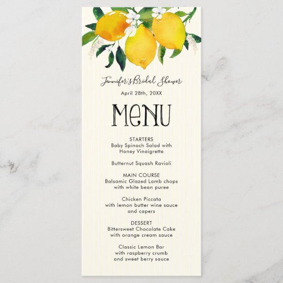 Lemon Bridal Shower, Menu Card