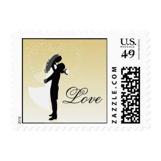 Lemon Bride And Groom Silhouette Love Postage