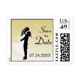 Lemon Bride And Groom Silhouette Save The Date Postage Stamp