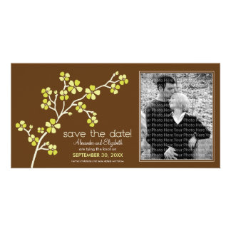 Lemon/Brown Cherry Blossom Save the Date Photocard Card