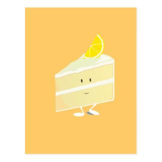 Lemon cake slice character postcard