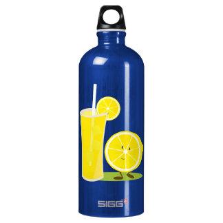 Lemon character standing next to lemonade aluminum water bottle