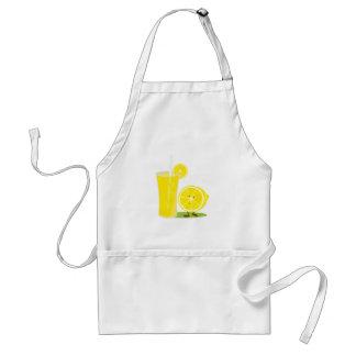Lemon character standing next to lemonade aprons