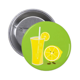 Lemon character standing next to lemonade button