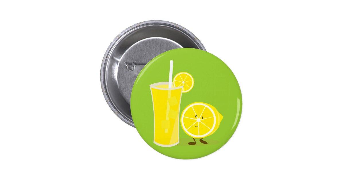Lemon character standing next to lemonade button zazzle for Lemon button