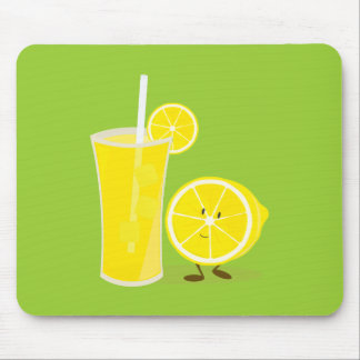 Lemon character standing next to lemonade mouse pad