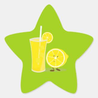 Lemon character standing next to lemonade star sticker