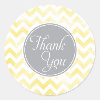 Lemon Chevron Thank You Stickers, round Classic Round Sticker