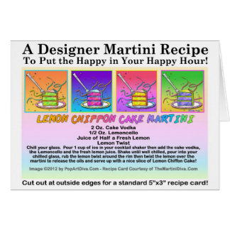 Lemon Chiffon Cake Martini Recipe Greeting Card