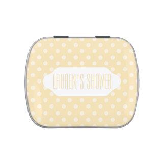 Lemon chiffon yellow polka dots custom candy tin