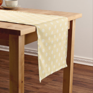 Lemon chiffon yellow polka dots table runner