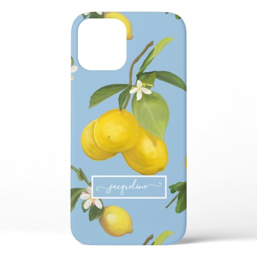 Lemon Citrus Floral Dusty Blue Foliage Greenery iPhone 12 Case
