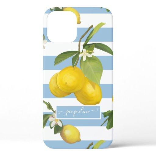 Lemon Citrus Floral Dusty Blue White Striped Leaf iPhone 12 Case