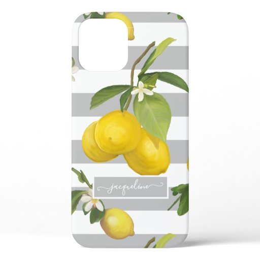 Lemon Citrus Floral Yellow Gray White Striped Tree iPhone 12 Case