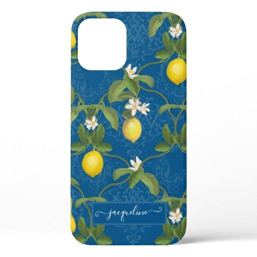 Lemon Citrus Flower Blue White Foliage Greenery iPhone 12 Case