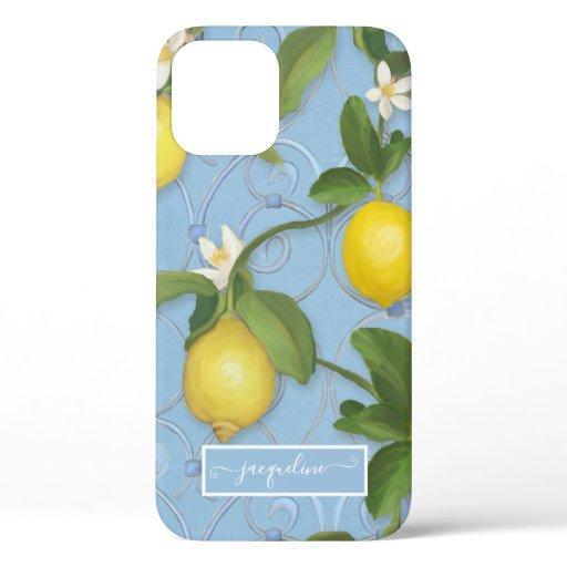 Lemon Citrus Flower Dusty Blue Leaves n Greenery iPhone 12 Case