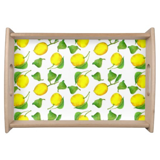 Lemon Watercolor Serving Tray