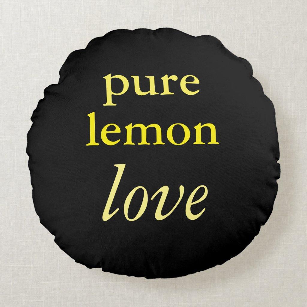 'Lemon' Cotton Round Pillow