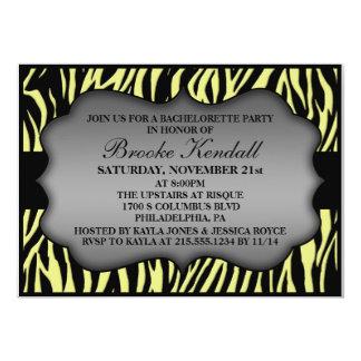 Lemon Creme Wild Night Zebra Bachelorette Party 5x7 Paper Invitation Card