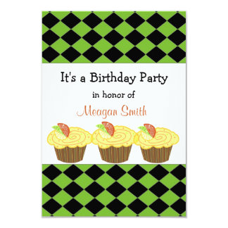 Lemon Cupcake  Birthday Invitation