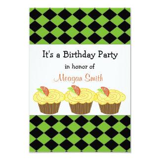 Lemon Cupcake  Birthday Invitation