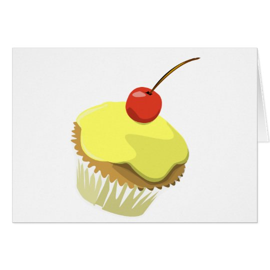 Lemon cupcake w/ Cherry cupcake template products Card