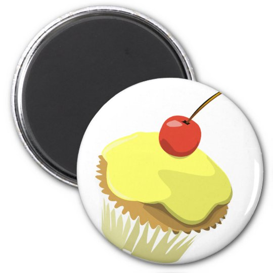 Lemon cupcake w/ Cherry cupcake template products Magnet