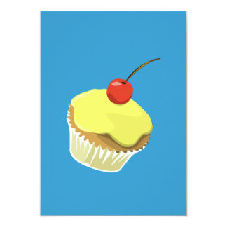 Lemon cupcake with cherry invitation