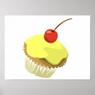 Lemon cupcake with cherry poster